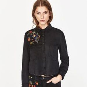Zara Floral Embroidered Button Down